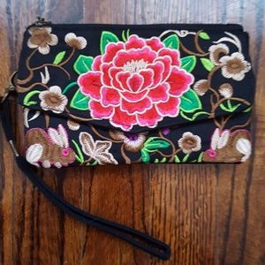 Embroidered Clutch/Wristlet